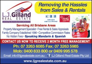"Best Regards  Linda & Carlos Debello  ""Your Local Property Management Specialist""  LJ Gilland Real Estate Pty Ltd (http://www.ljgrealestate.com.au)  PO BOX 19  ZILLMERE 4034  (07) 3263 6085  0400 833 800 (Mob 1)  0413 560 808 (Mob 2)  0409 995 578 (Linda)   http://www.ljgrealestate.com.au/index.php?lan=ch"